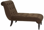 Ave Six Curves Tufted Upholstered Fabric Chaise Lounge with Solid Wood Legs - Chocolate [CVS72-C12-FS-OS]