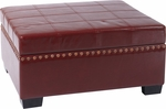 Ave Six Detour Eco Leather Storage Ottoman with Tray - Cherry [DTR3630-CBD-FS-OS]
