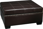 Ave Six Detour Eco Leather Storage Ottoman with Tray - Espresso [DTR3630-EBD-FS-OS]