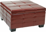 Ave Six Detour Eco Leather Strap Ottoman with Tray - Crimson Red [DTR3030S-CBD-FS-OS]