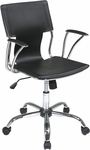 Ave Six Dorado Contour Seat and Back Vinyl Office Chair with Heavy Duty Chrome Base - Black [DOR26-BK-FS-OS]