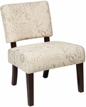 Ave Six Jasmine Armless Accent Chair - Script [JAS-S13-FS-OS]