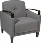Ave Six Main Street Chair with Espresso Finish Legs and Curved Arms - Charcoal [MST51-W12-FS-OS]