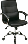Ave Six Faux Leather Office Chair with Padded Chrome Armrests and Adjustable Seat Height - Black [MAL26-BK-FS-OS]