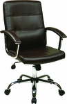 Ave Six Faux Leather Office Chair with Padded Chrome Armrests and Adjustable Seat Height - Espresso [MAL26-ES-FS-OS]