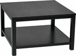 Ave Six Merge 30'' Square Coffee Table with Solid Wood Legs - Black [MRG12SR1-BK-FS-OS]