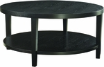 Ave Six Merge 36'' Round Coffee Table with Solid Wood Legs - Black [MRG12-BK-FS-OS]
