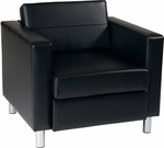 Ave Six Pacific Faux Leather Arm Chair with Chrome Finish Legs - Black [PAC51-V18-FS-OS]