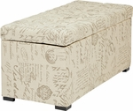 Ave Six Sahara Tufted Fabric Storage Bench with Solid Wood Legs - Script [SAH3917-S13-FS-OS]