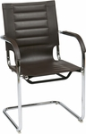 Ave Six Trinidad Vinyl Guest Chair with Chrome Base and Casters - Espresso [TND945A-ES-FS-OS]