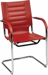Ave Six Trinidad Vinyl Guest Chair with Chrome Base and Casters - Red [TND945A-RD-FS-OS]