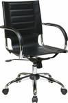 Ave Six Trinidad Vinyl Contoured Seat Office Chair with Chrome Base and Casters - Black [TND941A-BK-FS-OS]