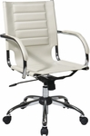 Ave Six Trinidad Vinyl Contoured Seat Office Chair with Chrome Base and Casters - Cream [TND941A-CRM-FS-OS]