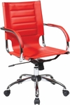 Ave Six Trinidad Vinyl Contoured Seat Office Chair with Chrome Base and Casters - Red [TND941A-RD-FS-OS]