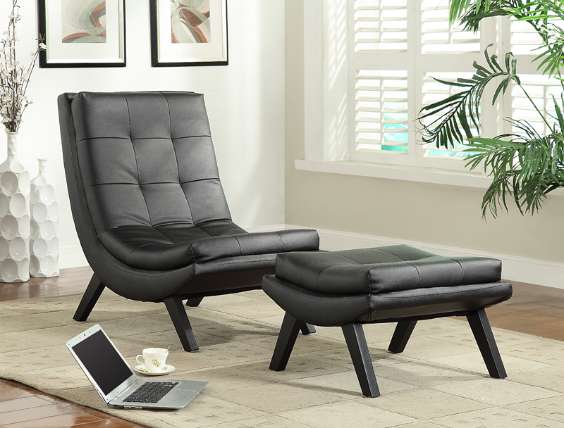 six tustin modern faux leather lounge chair and ottoman set black