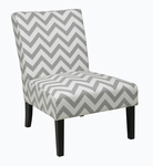 Ave Six Solid Wood Frame Victoria Chair with High Performance Fabric Upholstery - Zig Zag Grey [VCT51-Z13-FS-OS]