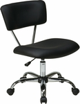 Ave Six Vista Vinyl Task Chair with Chrome Finish Base and Casters - Black [ST181-V3-FS-OS]