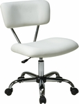 Ave Six Vista Vinyl Office Task Chair with Chrome Finish Base and Casters - White [ST181-V11-FS-OS]