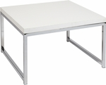 Ave Six Wall Street Wood Veneer Top Accent Table with Chrome Finished Steel Base - White [WST17-WH-FS-OS]