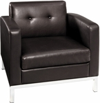 Ave Six Wall Street Faux Leather Arm Chair with Chrome Base and Legs - Espresso [WST51A-E34-FS-OS]