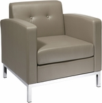 Ave Six Wall Street Faux Leather Arm Chair with Chrome Base and Legs - Smoke [WST51A-U22-FS-OS]