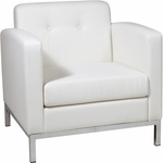 Ave Six Wall Street Faux Leather Arm Chair with Chrome Base and Legs - White [WST51A-W32-FS-OS]