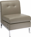 Ave Six Wall Street Faux Leather Armless Lounge Chair - Smoke [WST51N-U22-FS-OS]