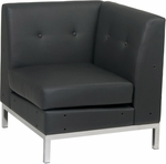 Ave Six Wall Street Faux Leather Corner Chair with Chrome Base and Legs - Black [WST51C-B18-FS-OS]