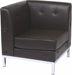 Ave Six Wall Street Faux Leather Corner Chair with Chrome Base and Legs - Espresso [WST51C-E34-FS-OS]