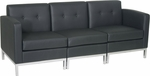 Ave Six Wall Street Faux Leather Modular Sofa with Chrome Finish Base - Black [WST51-SET-B18-FS-OS]
