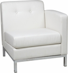 Ave Six Wall Street Faux Leather RAF Single Armed Lounge Chair - White [WST51RF-W32-FS-OS]