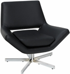 Ave Six Yield 31'' Wide Modern Faux Leather Lounge Chair with Chrome Finish Steel Base - Black [YLD5130-B18-FS-OS]