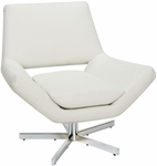 Ave Six Yield 31'' Wide Modern Faux Leather Lounge Chair with Chrome Finish Steel Base - White [YLD5130-W32-FS-OS]