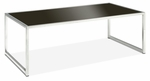 Ave Six Yield Tempered Glass Coffee Table with Chrome Finished Steel Base - Black [YLD12-FS-OS]