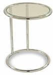 Ave Six Yield Tempered Glass Circle Table with Chrome Finished Steel Base - Clear [YLD14-FS-OS]