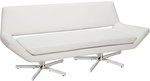 Ave Six Yield Modern Faux Leather Loveseat with Polished Steel Bases - White [YLD5372-W32-FS-OS]