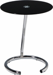 Ave Six Yield Tempered Glass Telephone Table with Chrome Finished Steel Base - Black [YLD04-FS-OS]