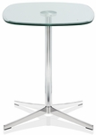 Axium 24'' Soft Corner Tempered Glass Table - 26''H [AX2424SH-LH-GL-FS-DV]