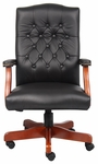 Traditional Button Tufted Executive Office Chair - Black [B915-BK-FS-BOSS]