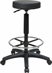 Work Smart Backless Vinyl Stool with Nylon Base and Adjustable Footring - Black [ST217-FS-OS]