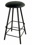 Straight Leg Backless 24''H Wrought Iron Barstool with Upholstered Seat [GMC-SW324-FS-GCM]