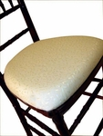 Legacy Series Ballroom Wood Base Seat Pad with Hook and Loop Fastening - Ivory Brocade [121315-MES]