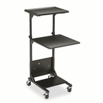 BALT® Adjustable Height Projection Stand,  3-Shelf,  18''w x 20''d x 47-1/2''h,  Black [BLT81052-FS-NAT]