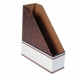 Bankers Box® Corrugated Cardboard Magazine File - 4 x 11 x 12 3/4 - Wood Grain - 12/Carton [FEL07224-FS-NAT]