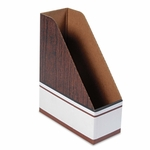 Bankers Box® Corrugated Cardboard Magazine File - 4 x 9 x 11 1/2 - Wood Grain - 12/Carton [FEL07223-FS-NAT]