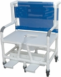 Bariatric Shower Commode Chair with Footrest and Casters - 7 lbs Capacity - 34''W X 28''D X 43''H [131-5-MJM]
