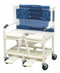 Bariatric Soft Seat Shower Chair with Deluxe Open Front Commode Seat and Casters - 34''W X 28''D X 43''H [131-5-SSDE-MJM]