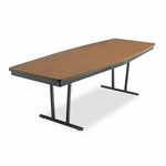 Barricks Economy Conference Folding Table - Boat - 96w x 36d x 30h - Walnut/Black [BRKECT368WA-FS-NAT]