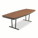 Barricks Economy Conference Folding Table,  Boat,  96''w x 36''d x 30''h,  Walnut [BRKECT368WA-FS-NAT]