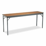 Barricks Special Size Folding Table - Rectangular - 72w x 18d x 30h - Walnut/Black [BRKCL1872WA-FS-NAT]